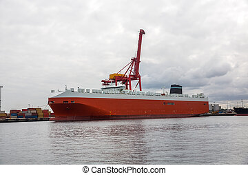 Cargo ship and container crane - Cargo ship load or unload...