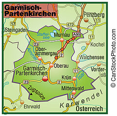 Map of Garmisch-Partenkirchen with highways