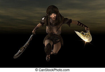 warrior woman - 3d render of warrior woman