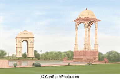 India Gate - painting style illustration of India Gate