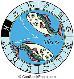 pisces zodiac - pisces astrological zodiac sign, image...