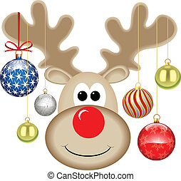 CUTE RUDOLPH WITH BAUBLES