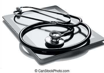 Medical Technology - Digital tablet and stethoscope