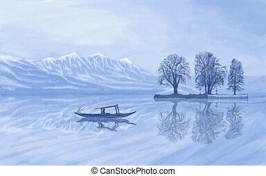 Dal Lake Kashmir - painting style illustration of Dal Lake...