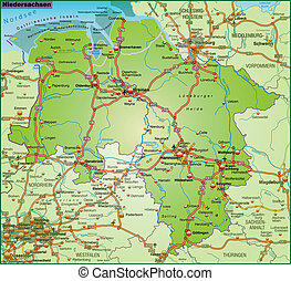 Map of Lower Saxony with highways