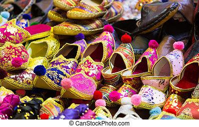 Turkish Slippers in Spice Bazaar, Istanbul City, Turkey