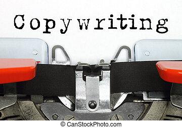 ord, maskinskrivit, maskin, del,  copywriting, maskinskrivning