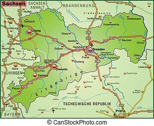 Map of Saxony with highways
