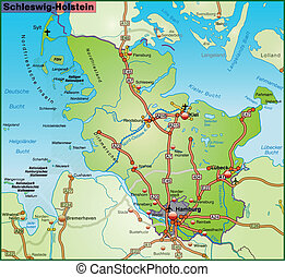 Map of Schleswig-Holstein with highways