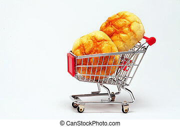 Bread in a shopping cart.