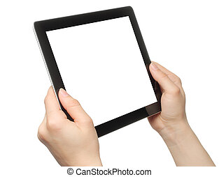 Woman hands holding tablet PC - Woman hands holding tablet...