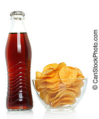 Bottle of cola with potato chips