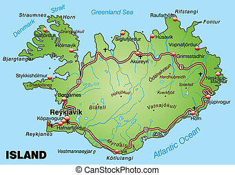 Map of Iceland with highways