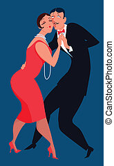 Tango dancers - Cartoon couple dressed in 1920s style...