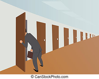 Red tape - Businessman in an endless hallway picking into...