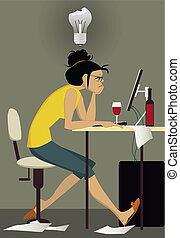Writers block - Frustrated woman sitting at her computer...