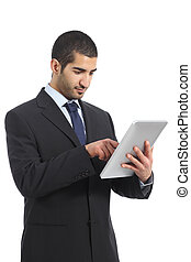 Arab business man working using a tablet isolated on a white...