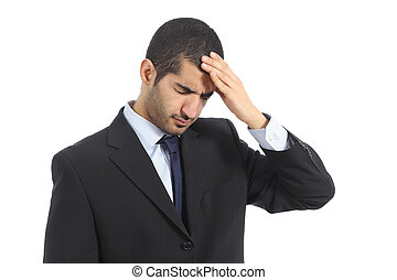 Arab business man worried with headache isolated on a white...