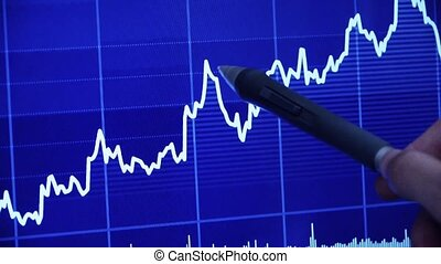 Businessman use pen touch Stock Market Graph on computer...