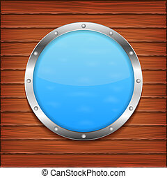 Porthole on wooden wall, vector eps10 illustration