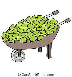 Money Wheel Barrow - An image of a money wheel barrow.
