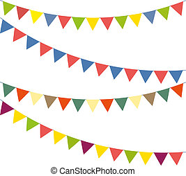 Bunting colorful set - Blank banner, bunting or swag...