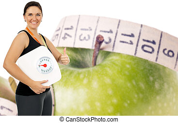 healthy living - Apple with measuring tape and woman with...