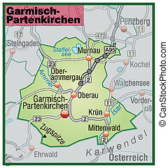 Map of Garmisch-Partenkirchen with highways in pastel green