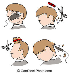 Haircut Process - An image of the haircutting process