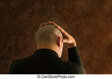 Stressed man - Portrait of a bald man