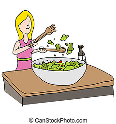 Tossed Salad - An image of a woman making a tossed salad.