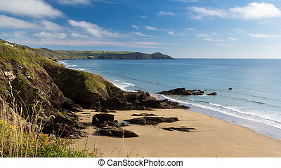 Sharrow Point Cornwall England - Dramtic coastline at...