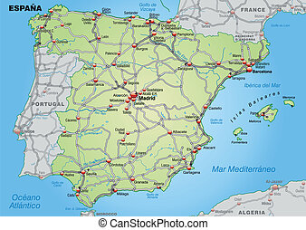 Map of Spain with highways in pastel green