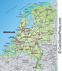 Map of Netherlands with highways in pastel green
