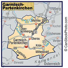 Map of Garmisch-Partenkirchen with highways in pastel orange