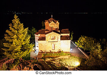 St. John Church - Saint John Monastery at night, Ohrid in...