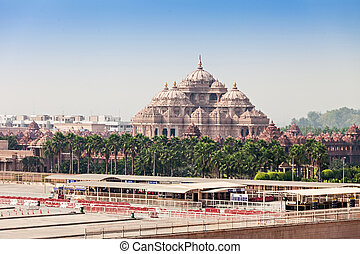 Akshardham temple - Facade of a temple, Akshardham, Delhi,...