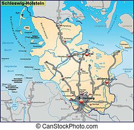 Map of Schleswig-Holstein with highways in pastel orange