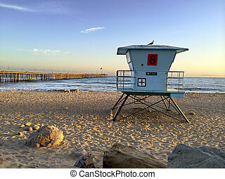 Lifeguard Booth at Ventura Beach - Lifeguard booth towering...