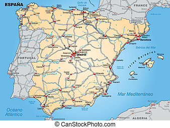 Map of Spain with highways in pastel orange