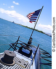 Flag on U.S.S. Bowfin - The American flag flies on the...