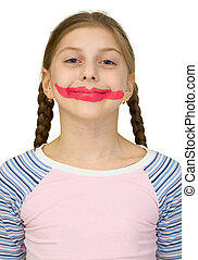 Girl with clown smile on the white background
