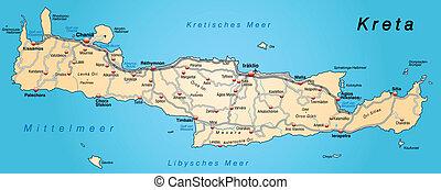 Map of Crete with highways in pastel orange