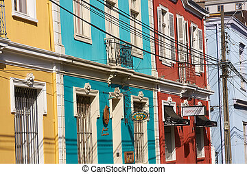 Colourful Valparaiso - Colourfully painted houses in the...