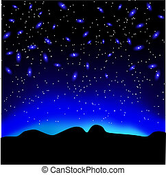 Stars in the sky at night over mountain vector background
