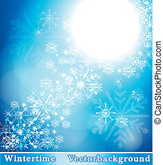Wintry background with snowflakes
