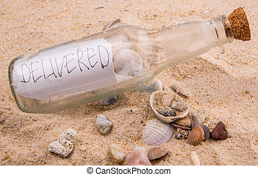 Message In A Bottle - Concept image of a message DELIVERED...