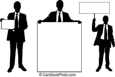 business men - set of business men holding signs