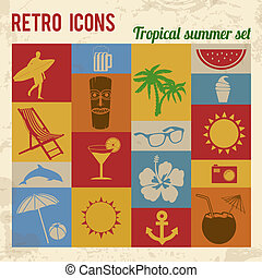 Tropical summer icons set