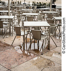 Outdoor Cafe on a rainy day in Lisbon Portugal